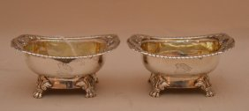 """Pair Antique English Sterling Open Salts. Lth. 3 5/8"""""""