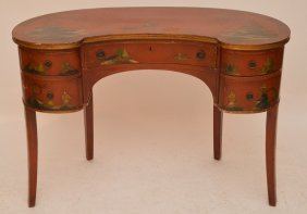 Chinese Style Kidney Form Writing Desk With Chinoisorie