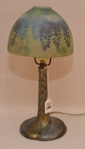 Handel Lamp With Metal Base And Reverse Painted Glass
