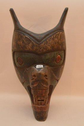 Vintage Northwest Coast Carved Cedar Bear's Head.