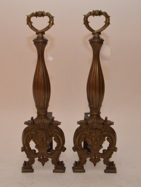Pair Solid Casted Brass Andirons In Regency Style, 26