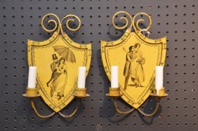Pair Yellow Tole Decorated And Painted Wall Sconces
