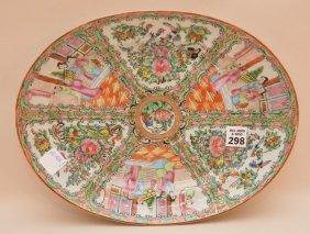 "Oval Chinese Rose Medallion Platter, 13""dia"