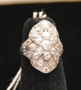Vintage Ladies Diamond Ring, Stamped Irid.plat.