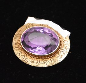 Amethyst And Gold Victorian Pin