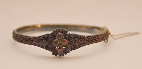Antique Victorian Rose Cut Bohemian Garnet Bangle