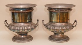 "Pair Silverplate Champagne Buckets, 10""h X 8 1/2""w"
