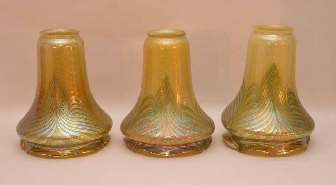 Set of 3 gold Aurene pulled feather art glass lamp