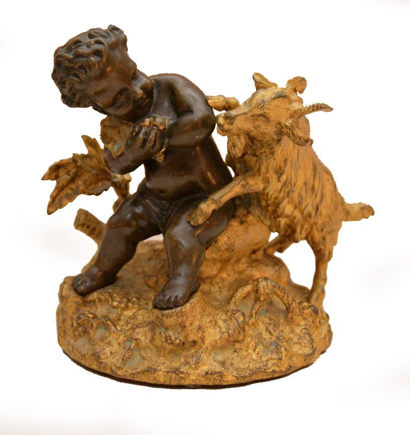 """Gilt & Patinated bronze of boy and goat, 5""""h"""