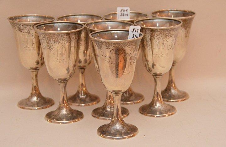 """8 sterling goblets, 32ozt, 6 3/4""""h"""