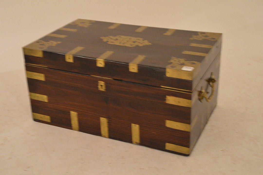 Large Mahogany 19th Century Box with brass inlay and