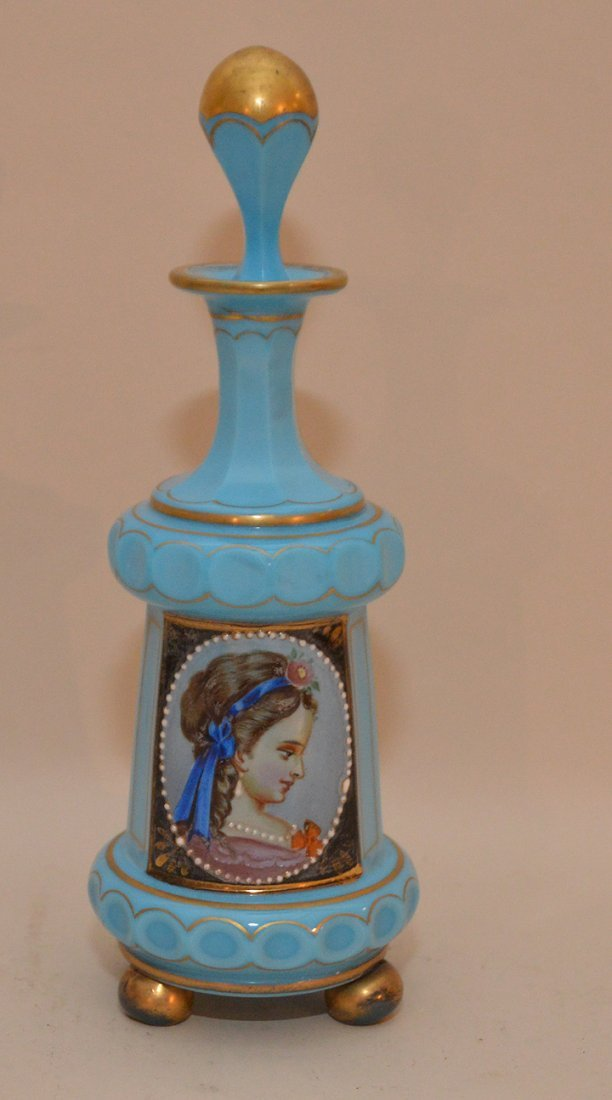 Opaline blue perfume bottle with hand painted portrait,