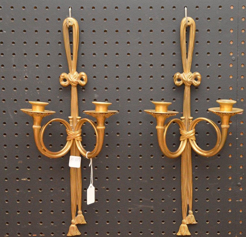 "Pair French Bronze 2 Light Sconces.  Ht. 19 1/2"""
