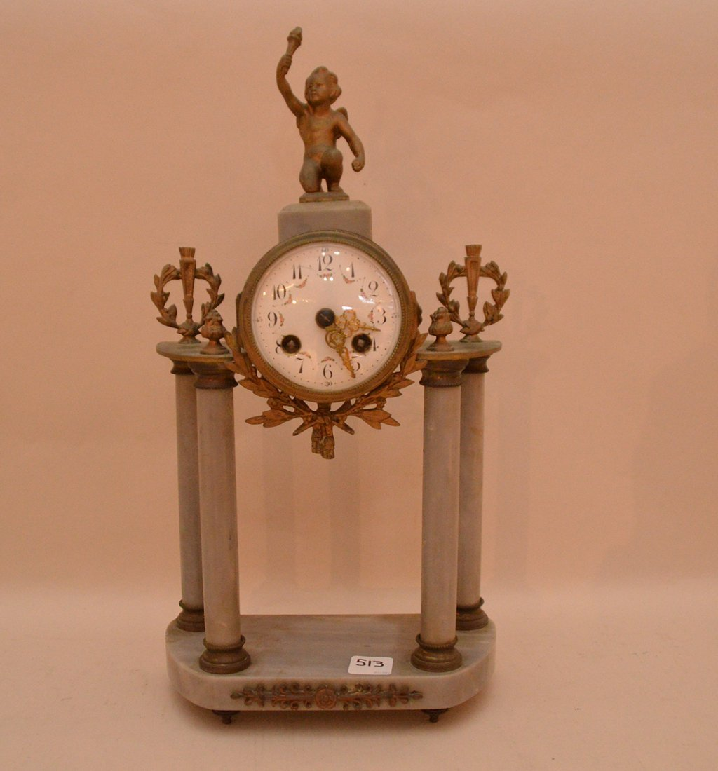 Marble & Bronze Clock with time and strike movement.