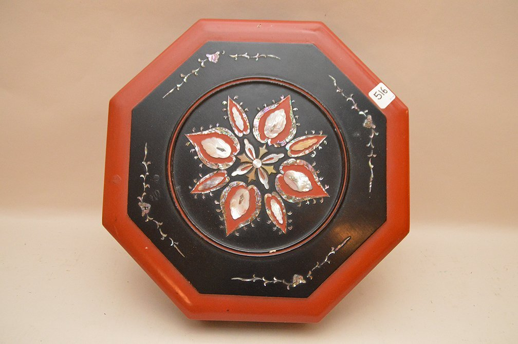 Chinese Octagonal Lacquer Box with mother of pearl