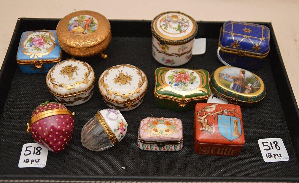 Lot 12 miniature Limoges Porcelain Boxes.