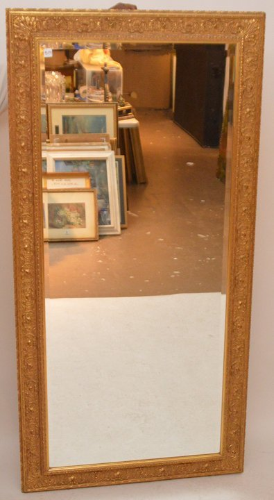 """Gilded frame mirror with beveled glass, 66""""h x 33""""w"""