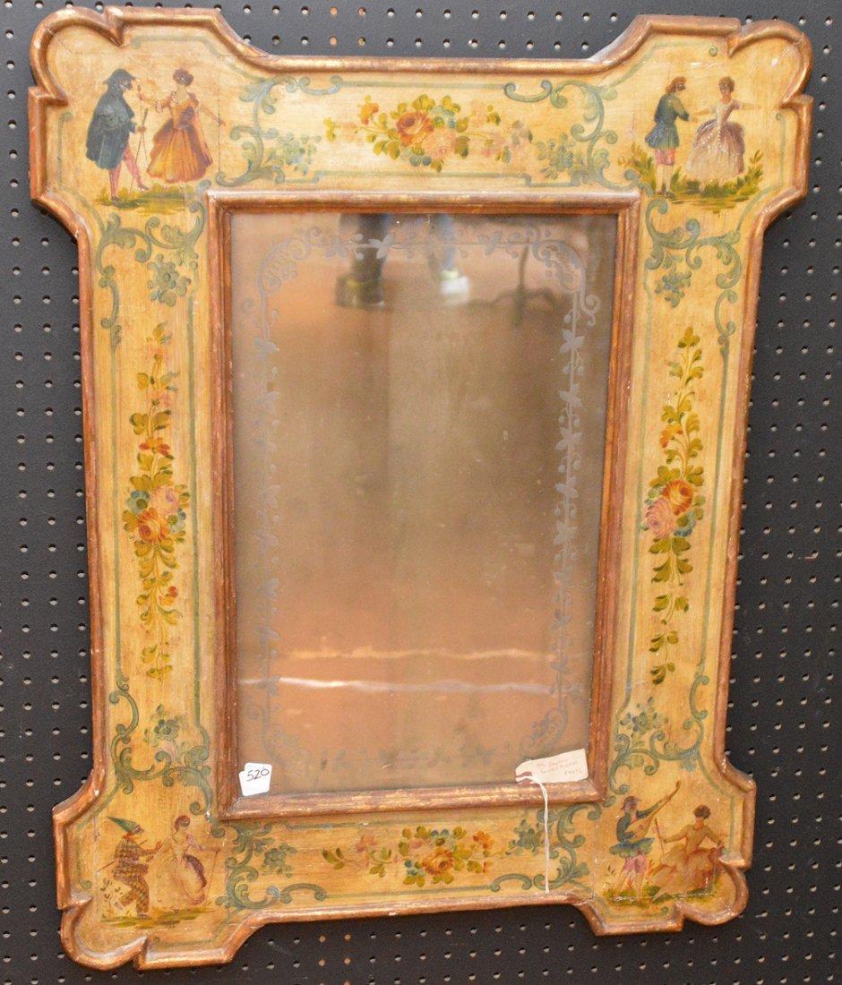 "19th c. Venetian painted mirror, 35""h x 27""w"
