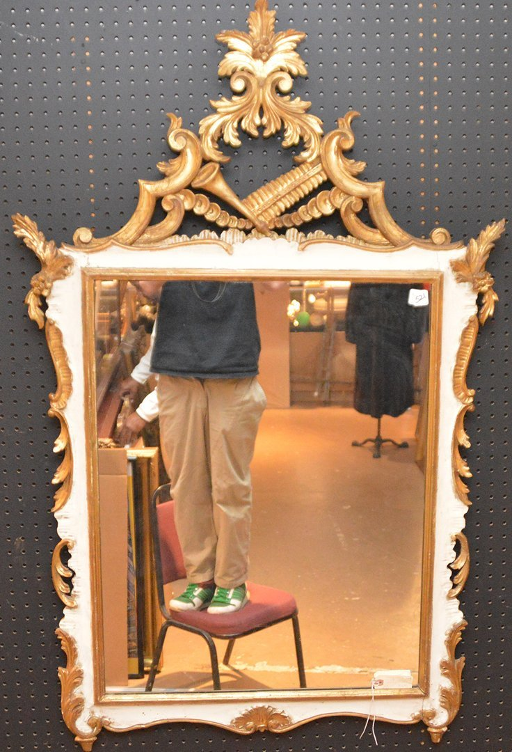 """Vintage painted and carved mirror, 53""""h x 34""""w (some"""