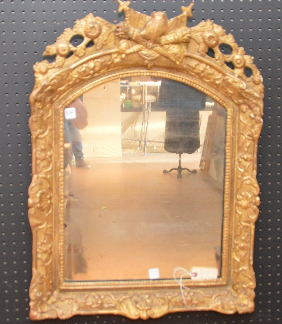19th c. Continental mirror, giltwood frame with carved
