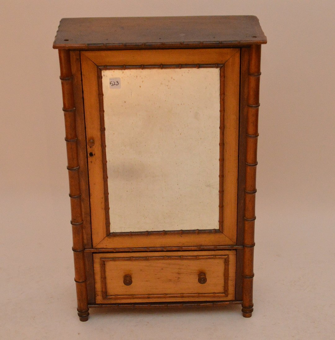 French Bamboo cabinet with single door over single