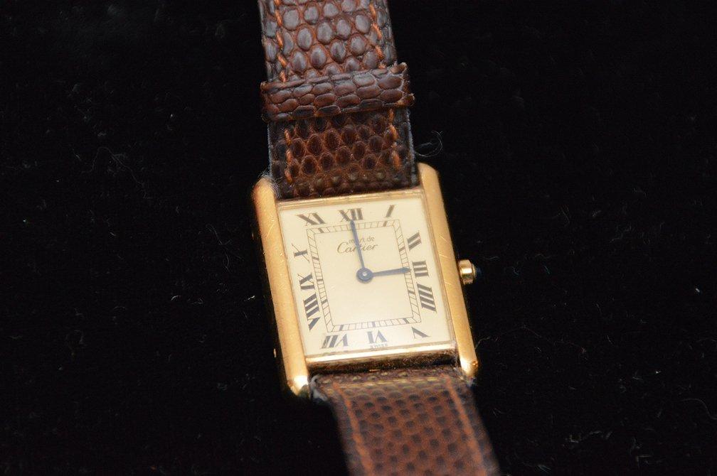 Cartier Men's Tank Watch, vermeil gold over sterling,