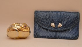 Rare Judith Leiber Rabbit Pill Box And Snake Skin