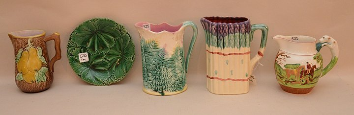 """4 Pieces Of Majolica Three Pitchers (Tallest 8"""")  One"""