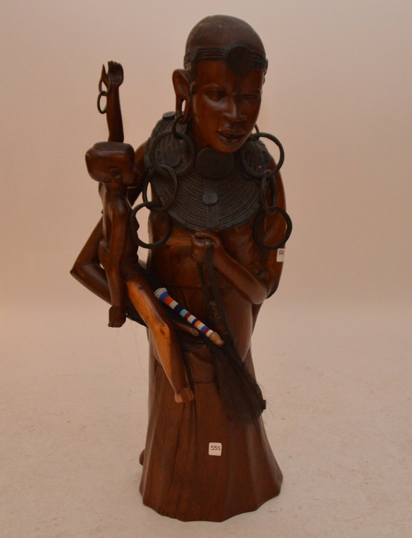 """Large African Wood Carving Mother And Child.  Ht. 42"""""""