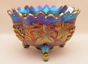 "Northwood Carnival Glass Orange Bowl, Signed, 7""h X 10"