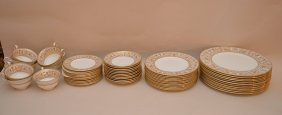 "Wedgwood, 57pcs. ""gold Florentine"" China Service, Incl;"