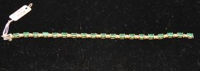 Ladies 14kt Emerald And Diamond Bracelet