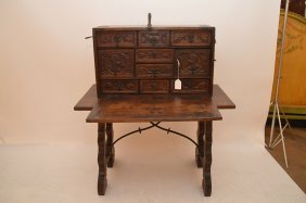 Vargueno, Spanish, Wooden Cabinet Of Mixed Spanish And