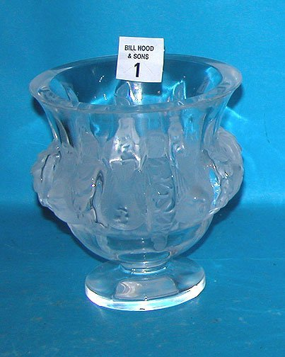 "1: Heavy Lalique bowl, 8 birds on sides, 4 3/4""h x 4 3/"