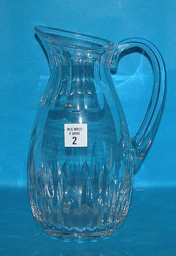 "2: Baccarat clear pitcher, 9 1/2""h x 3 1/8"" diameter"
