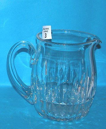"3: Baccarat clear pitcher, 6""h x 4"" diameter"