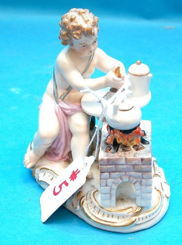 "5: Meissen cupid mixing potion, pot on stove, 4 1/2""L x"