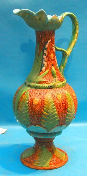 "9: Brownfield Majolica ewer, 1/2"" chip on bottom edge,"