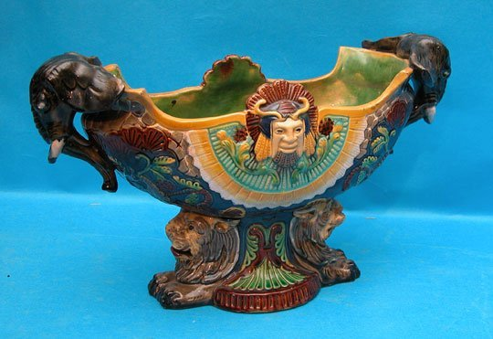 11: German Majolica centerpiece, animal heads predomina