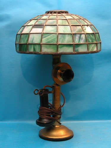 "16: Brass telephone lamp w/green art glass shade, 17""h"