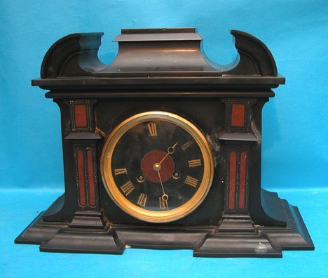 "17: Black marble Tiffany mantel clock, 11 ""h x 16 "" L x"