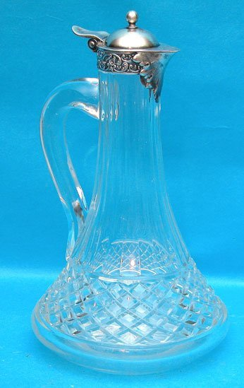 18: Tiffany & Co. sterling & crystal claret jug, monogr
