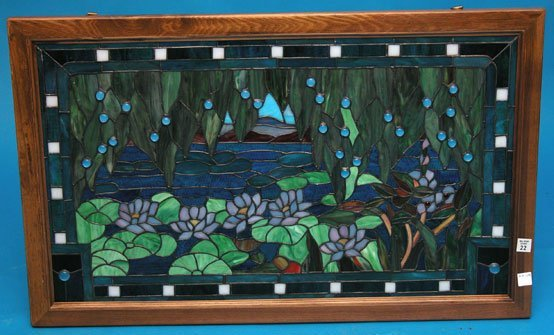 "22: Leaded glass window. Window is 31""h x 18""w"
