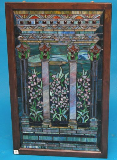 "23: Leaded glass window;  window is 31""h x 18""w"