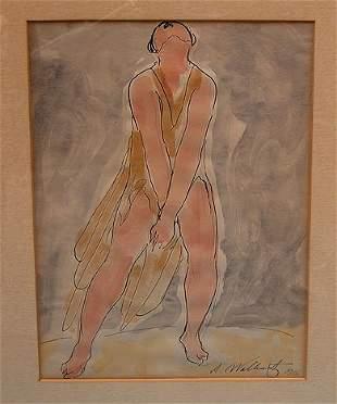 80: Abraham Walkowitz (1880-1965, Brooklyn, N.Y.) water