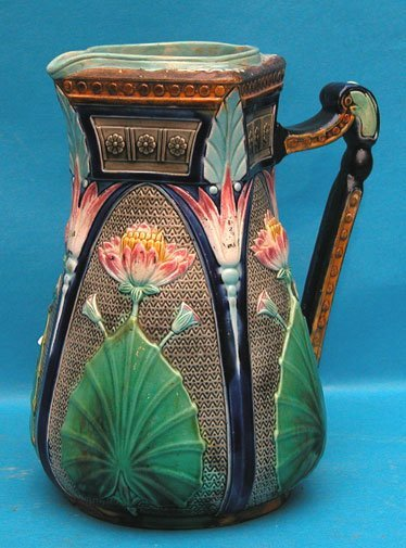 "116: Old Copeland "" Lotus"" pitcher, rim restoration, 7"