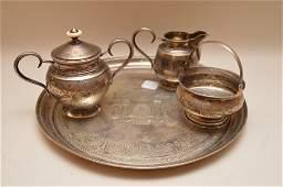4 pcs. Russian Partial  silver tea set, incl; tray,