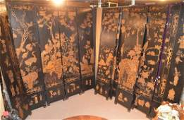 12 panel custom Chinese hand painted and gilt wood