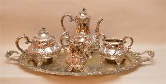 Antique English 4 pc Silver plated tea service teapot