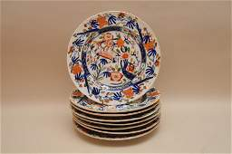 "Set of 8 Antique English Porcelain Plates. 9"" dia"
